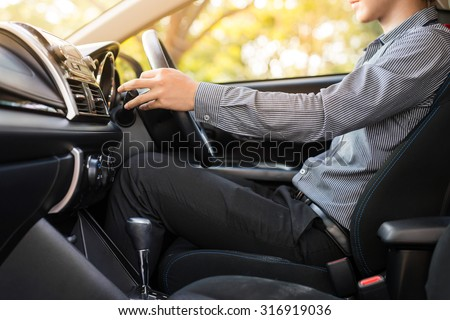 businessman drive a car
