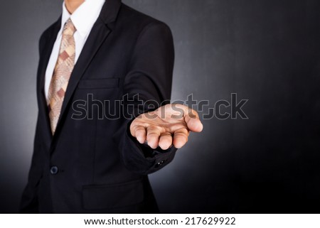 Businessman empty open cupped hands. Concept of giving or holding