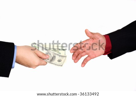 Businessman exchanging money