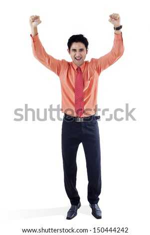 Businessman exulting with his arms raised on white background - stock photo