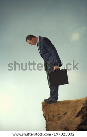 businessman facing a difficult challenge concept