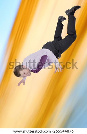 Businessman falling down with abstract background - stock photo