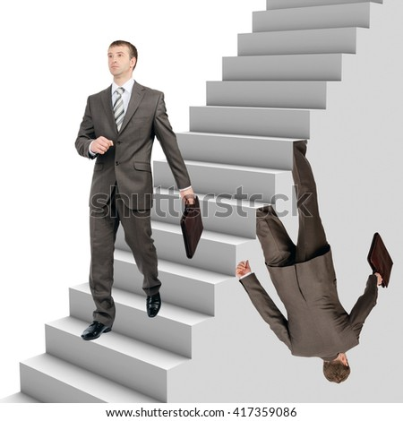 Businessman falling out of stairs with walking man on white background