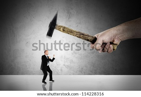 Businessman fighting - major business challenge concept - stock photo
