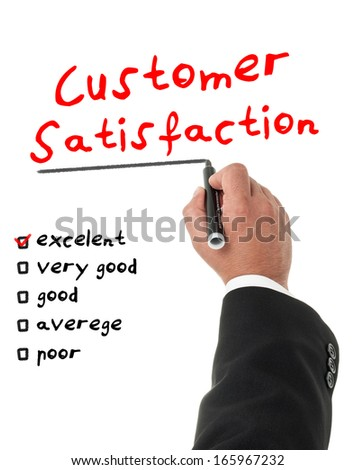 Businessman filling a customer satisfaction form - stock photo