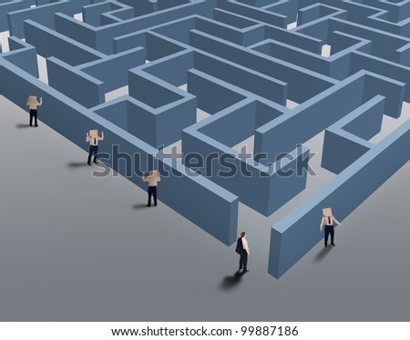 Businessman finding a niche of the market - vision and strategic thinking concept - stock photo