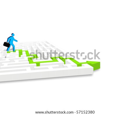 Businessman finding a way out - stock photo