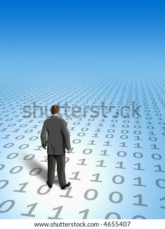Businessman finding his way in cyberspace. Digital illustration. - stock photo