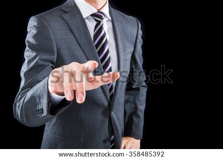 businessman ,fingertip in front of the camera