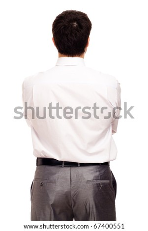 Businessman from behind, isolated on white - stock photo