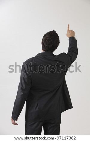 Businessman from behind, pointing at something - stock photo