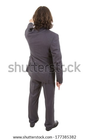 businessman from the back pointing, full body, isolated