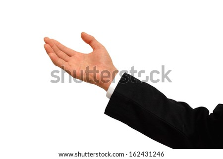 businessman gesturing with his hand  on a white background - stock photo