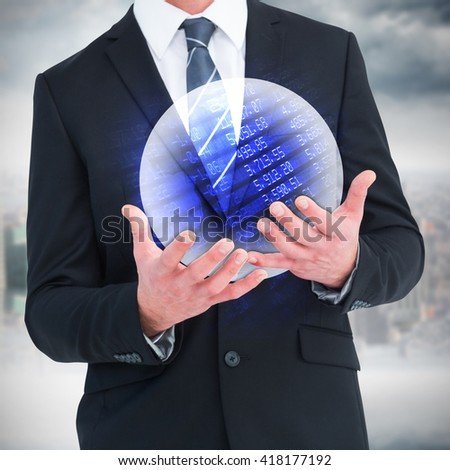 Businessman gesturing with his hands against stocks and shares - stock photo