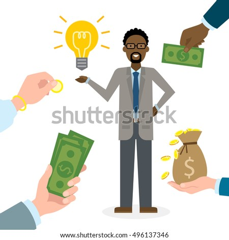 Businessman gets money for the idea. Handsome african american businessman has idea bulb. Selling new ideas, getting money.