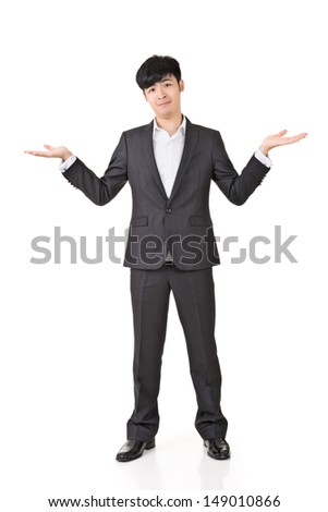Businessman give you a gesture of unsure, full length portrait isolated on white background. - stock photo