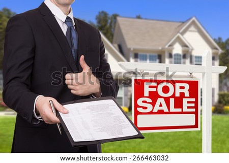 Businessman giving a contract to you - stock photo