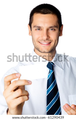 Businessman giving business card, isolated on white - stock photo
