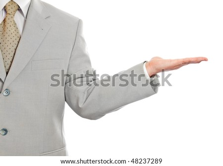 Businessman giving gesture isolated on white background