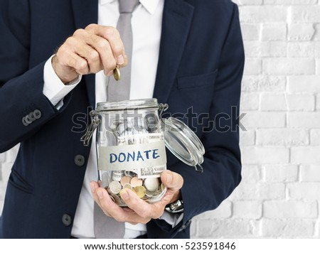 Businessman GIving Money Donation Charity Concept
