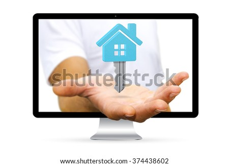 Businessman going out of a computer screen holding digital key flying over his hand