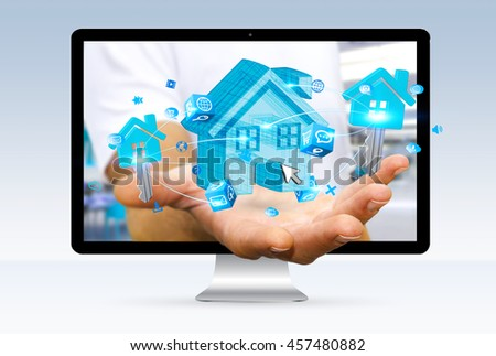 Businessman going out of a computer screen with blue house and keys in his hand '3D rendering'