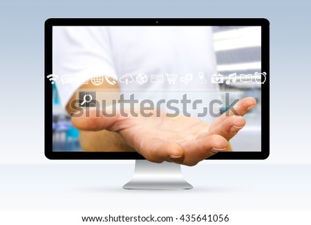 Businessman going out of a computer screen with digital tactile web address bar '3D rendering'