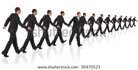 businessman going out the formation collage
