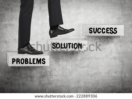 Businessman going up. A concept of problem solving process. - stock photo
