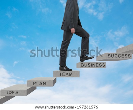 Businessman going up. Sky background.  - stock photo