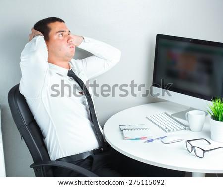 businessman got stressed on a job - stock photo