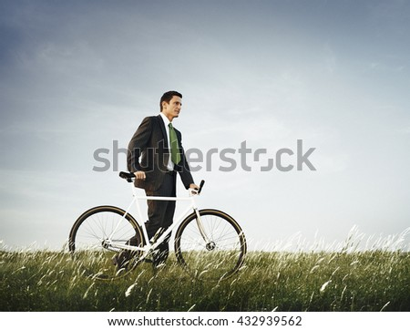 Businessman Green Business Relaxation Outdoors Concept - stock photo