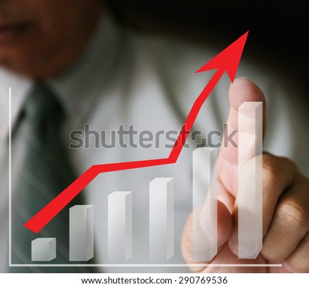 businessman hand and chart, technology, internet and networking concept - businessman pressing button with contact on virtual screens ,hardworking