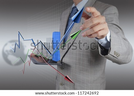 businessman hand and tablet computer working as concept modern business - stock photo