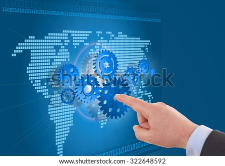 businessman hand arrange gear on map. - stock photo