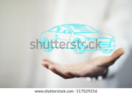businessman hand car