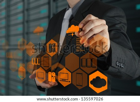 Businessman hand drawing a Cloud Computing diagram on the new computer interface as concept - stock photo