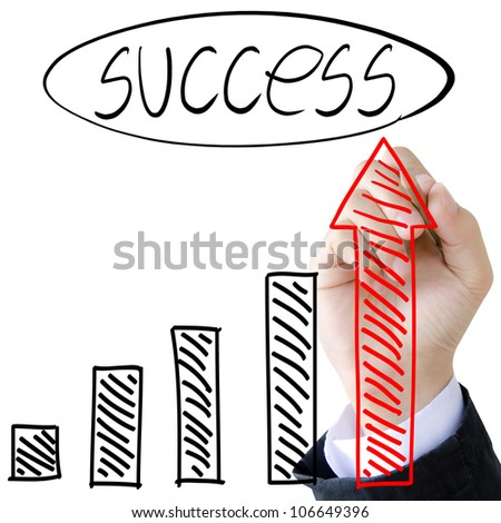 businessman hand drawing a graph - stock photo