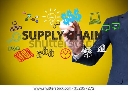 businessman hand drawing and writing SUPPLY CHAIN on yellow background , business concept , business idea - stock photo