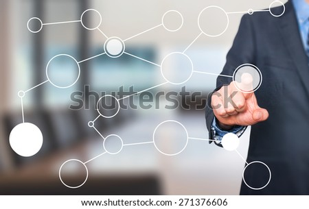 businessman hand drawing blank flow chart on new modern computer as concept. Isolated on office. Stock Image - stock photo