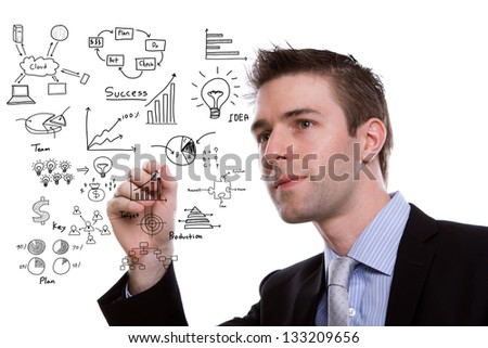 Businessman hand drawing business concept isolated on white background - stock photo