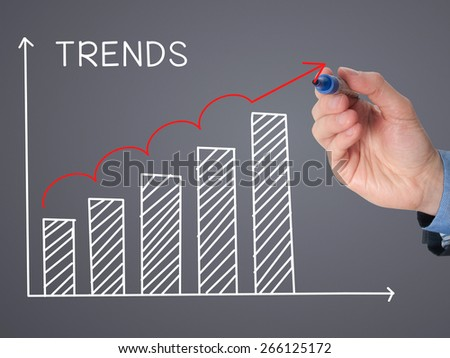 Businessman hand drawing growth trends chart isolated on grey background. Stock Image - stock photo