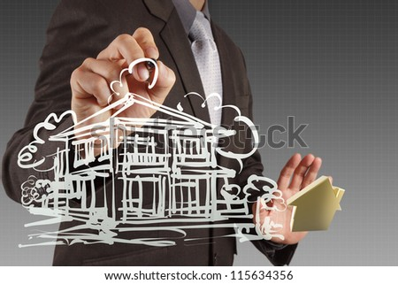 businessman hand drawing house in a whiteboard - stock photo