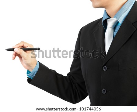 businessman hand drawing on white background - stock photo