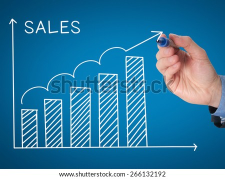 Businessman hand drawing Sales Growth Graph with marker on transparent wipe board. Isolated on blue. Sales concept. Stock Image - stock photo