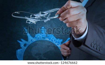 businessman hand draws airplane travel around the world as concept - stock photo