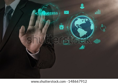 businessman hand draws business success chart concept on virtual screen