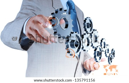 businessman hand draws business success chart on new computer interface as concept - stock photo