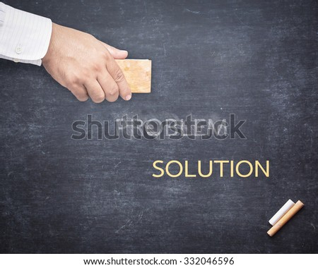 Businessman hand erased the word PROBLEM from a chalkboard for changing to SOLUTION. Change concept. - stock photo
