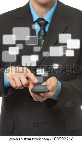 Businessman hand hold Touch screen mobile phone and virtual buttons - stock photo